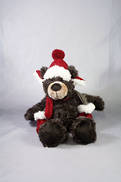 20CMH PLUSH SITTING BROWN BEAR WITH HAT AND MITTENS