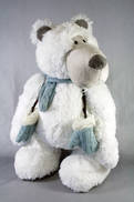 47CMH PLUSH STANDING POLAR BEAR WITH BLUE SCARF AND MITTENS