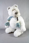 38CMH PLUSH STANDING POLAR BEAR WITH BLUE SCARF AND MITTENS