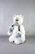 29CMH PLUSH STANDING POLAR BEAR WITH BLUE SCARF AND MITTENS