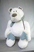 75CMH PLUSH STANDING POLAR BEAR WITH BLUE SCARF AND MITTENS
