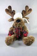 28CMH PLUSH SITTING BROWN DEER WITH TARTAN HAT AND SCARF