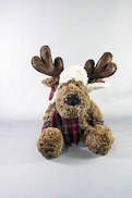 22CMH PLUSH SITTING BROWN DEER WITH TARTAN HAT AND SCARF