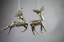 PAIR ANTIQUE SILVER DEER HANGERS (6)
