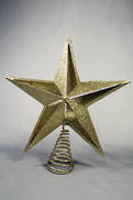 GOLD GLITTER CUT OUT STAR TREE TOPPER IN PVC BOX