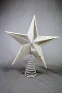 WHITE GLITTER CUT OUT STAR TREE TOPPER IN PVC BOX