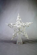 WHITE STAR TREE TOPPER WITH INLAID SWIRLS