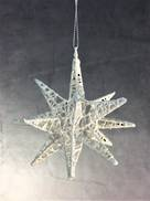 WHITE GLITTER 10CMD 3D STAR