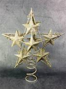 25CM CHAMPAGNE WIRE STAR WITH STAR ATTACHMENTS IN PVC BOX