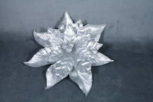 SILVER METALLIC POINSETTIA WITH CLIP