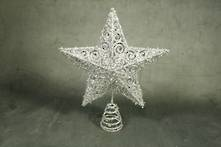 SILVER MESH STAR WITH SILVER GEM CENTRE