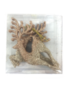 SET3, ROSE GOLD GLITTERED LEAPING REINDEER HANGERS
