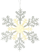 30CMD CLEAR/GOLD ACRYLIC SNOWFLAKE