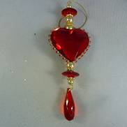 RED ACRYLIC HEART HANGING DEC