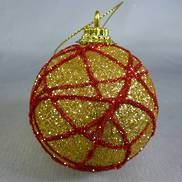 GOLD GLITTER BAUBLE W/ RED SWIRL