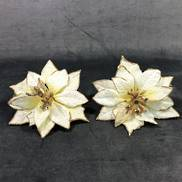 SET2 CREAM/GOLD POINSETTIA ON CLIP