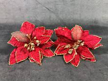 SET2 RED/GOLD POINSETTIA ON CLIP