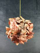 10CM PINK VELVET POINSETTIA HANGING BALL.