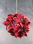 10CM BURGANDY WITH CHAMP VELVET POINSETTIA HANGING BALL.