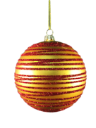 GOLD/RED SWIRL PLASTIC BALL HANGER (12)