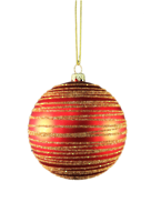 RED/GOLD SWIRL PLASTIC BALL HANGER