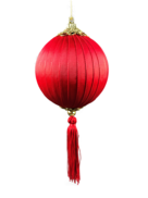 RED SILK AND TASSEL BALL HANGER