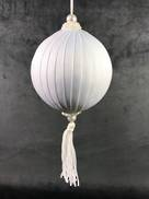 WHITE SILK AND TASSEL BALL HANGER