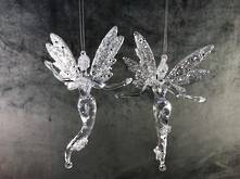 SET2 SILVER/CLEAR PLASTIC ANGEL HANGERS