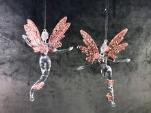 SET2 PINK/CLEAR PLASTIC ANGEL HANGERS