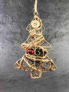 "5"""" METAL X'MAS TREE SHAPE HANGER W/WRAPPED DECORATION & BERRIES"