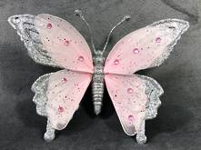 PINK / SILVER BUTTERFLY WITH CLIP