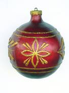 CHRISTMAS DECOR BALL  RED W/ GOLD TRIM