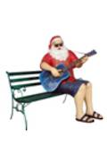 SANTA CLAUS WITH GUITAR SITTING ON BENCH