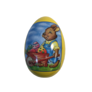 LARGE METAL EGG WITH BUNNY PUSHING BARROW (MIN 6)