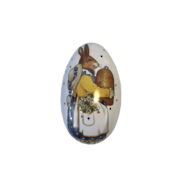 MED METAL EGG WITH MRS BUNNY CARRYING EGG (MIN 6)