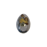 SMALL METAL EGG WITH MRS BUNNY CARRYING EGG (MIN 12)