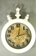 AGED WHITE ROUND METAL TIMER CLOCK WITH MOVING COGS