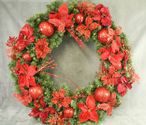 LARGE PINE AND RED DRESSED WREATH
