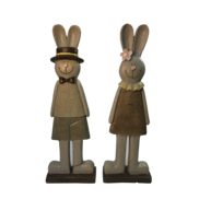 PAIR BROWN/WHITE WOOD LOOK STANDING BUNNIES