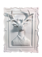 WHITE MALE STAG  3D WALL PLAQUE
