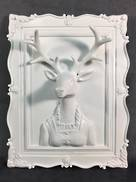 WHITE FEMALE DEER  3D WALL PLAQUE