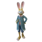 26CMH STANDING BOY BUNNY IN BLUE OVERCOAT
