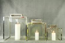 SET3 SQUARE STAINLESS SILVER HURRICANE LAMPS