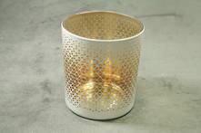 WHITE DIAMOND PATTERN WITH AGED GOLD INNER TEALIGHT
