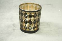 BLACK DIAMOND PATTERN WITH AGED GOLD INNER TEALIGHT