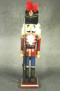 38CMH BURGUNDY NUTCRACKER WITH BLACK FUR HAT