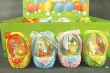 SET12, 4ASST EASTER BASKET SNOWGLOBES