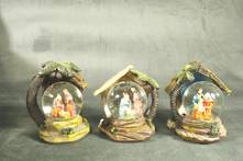 SET9, 3 ASST NATIVITY SNOWGLOBES