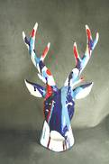 BLUE MARBLE PAINT DEER HEAD