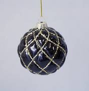 BLACK AND GOLD DIAMOND PATTERN GLASS BALL (6)